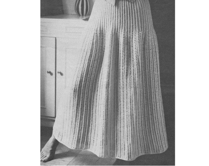 Womens Long Skirt Crochet Pattern PDF Ladies 36 - 41 inch Hips, Beach Cover-up, Summer Boho Style, Vintage Crochet Patterns for Women