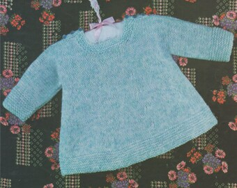 4698e89aea76 Baby Girl Dress PDF Knitting Pattern   Babies 19 20 and 21