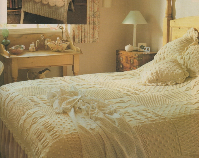 Aran Bedspread and Cushion Knitting Pattern PDF . Throw, Bed Cover,  Blanket, Knitted Squares . Vintage Knitting Patterns for the Home