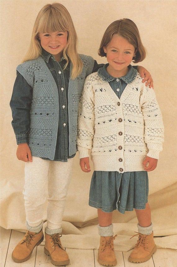 1ae2d610e150 Girls Waistcoat and Cardigan Knitting Pattern PDF Childrens 20