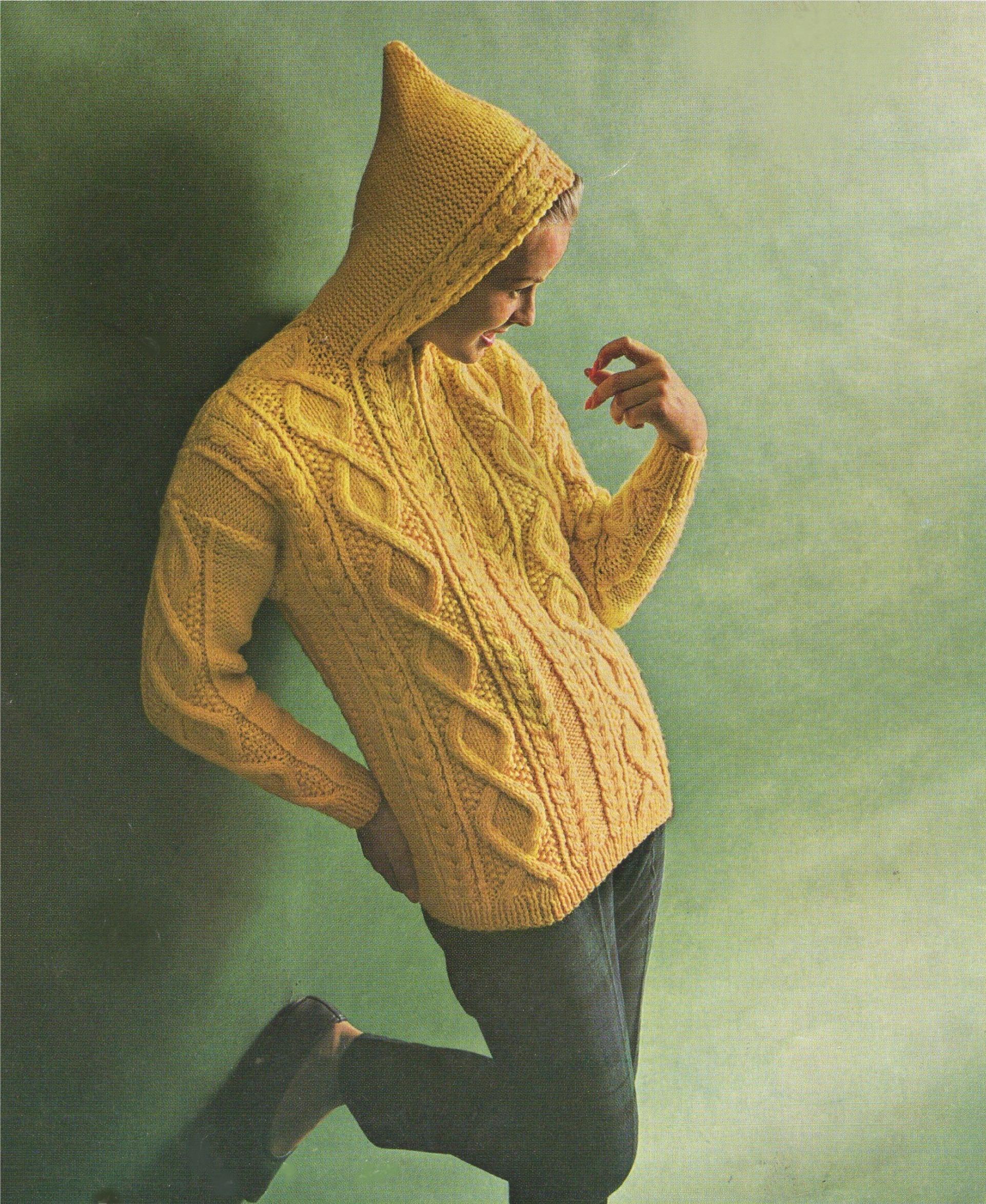 22283c1dc Womens Aran Hoodie Jacket Knitting Pattern PDF Ladies 34