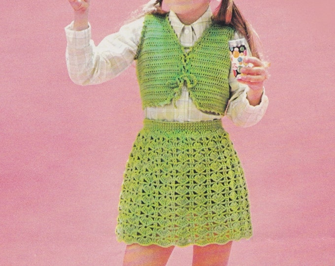 Girls Bolero, Shawl and Skirt Crochet Pattern PDF Girls 24, 26, 28, 30 and 32 inch chest, Vintage Crochet Patterns for Girls and Teenagers