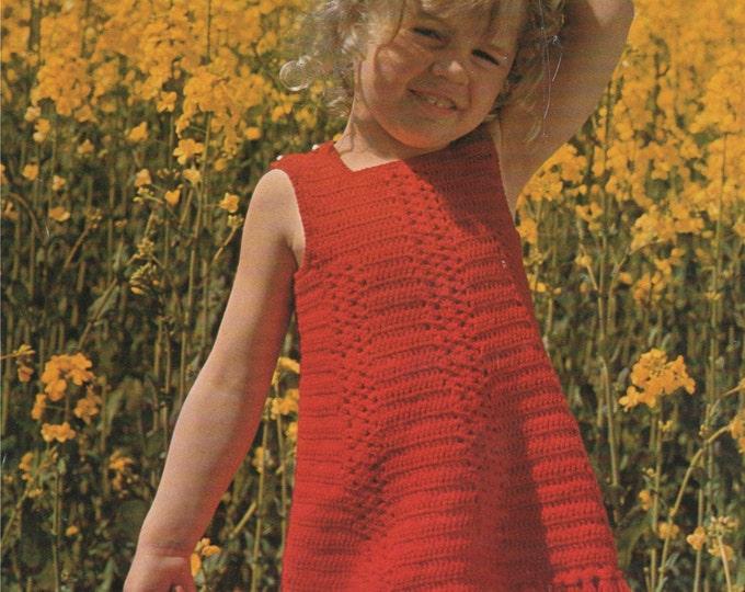 Girls Dress Crochet Pattern PDF Toddlers 20 - 22 inch chest, Summer Crochet Sundress, Vintage Crochet Patterns for Children, Download