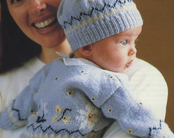 Babies Fair Isle Cardigan and Hat Knitting Pattern PDF Baby Boys or Girls 0 - 3 and 3 - 6 months, Vintage Knitting Patterns for Babies
