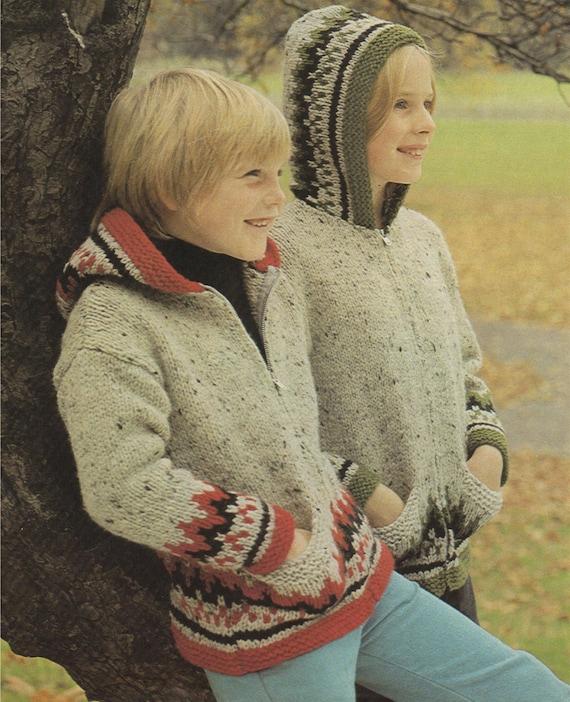 fc71db3546e ... Fair Isle Zip Jacket with Hood Knitting Pattern PDF Boys or Girls
