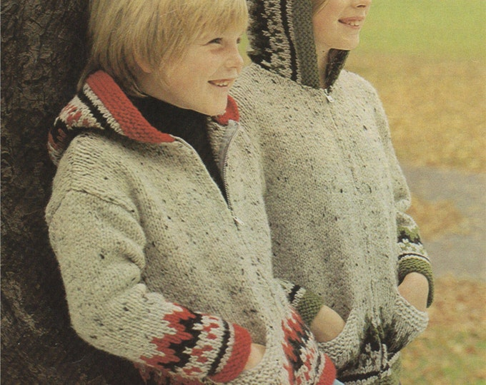 Fair Isle Zip Jacket with Hood Knitting Pattern PDF Boys or Girls, Kids 26, 28, 30 & 32 inch chest, Vintage Knitting Patterns for Children