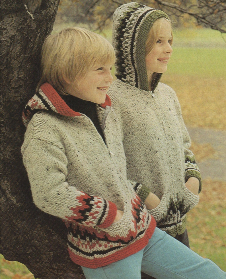36a1e9542b6d Fair Isle Zip Jacket with Hood Knitting Pattern PDF Boys or