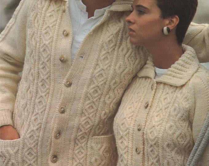 Aran Cardigan Knitting Pattern PDF Womens and Mens 35 - 46 inch chest, Patterned Aran Jacket, Vintage Knitting Patterns, e-pattern Download