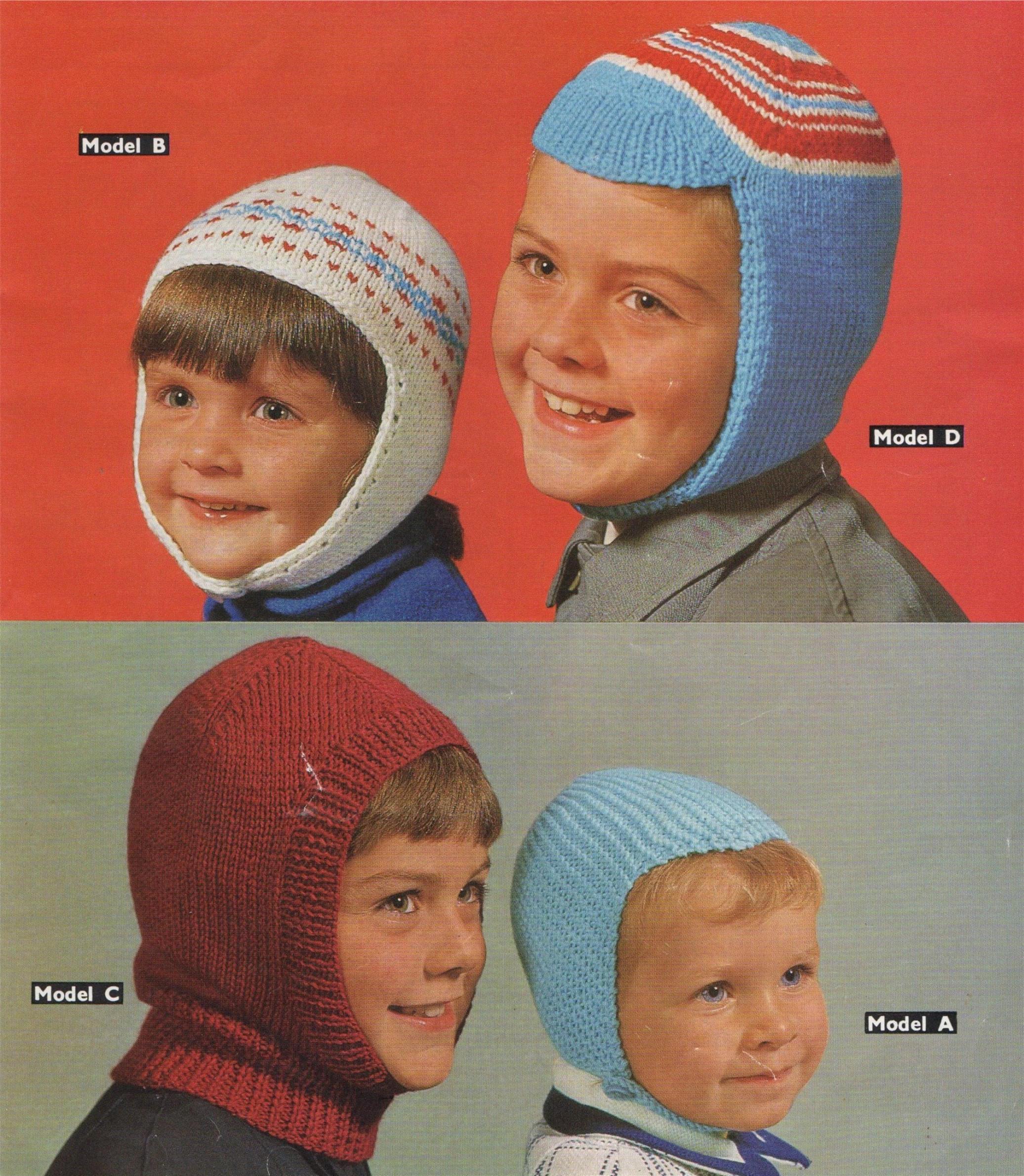 Childrens Helmets Knitting Pattern PDF Boys Winter Hats 2 ...