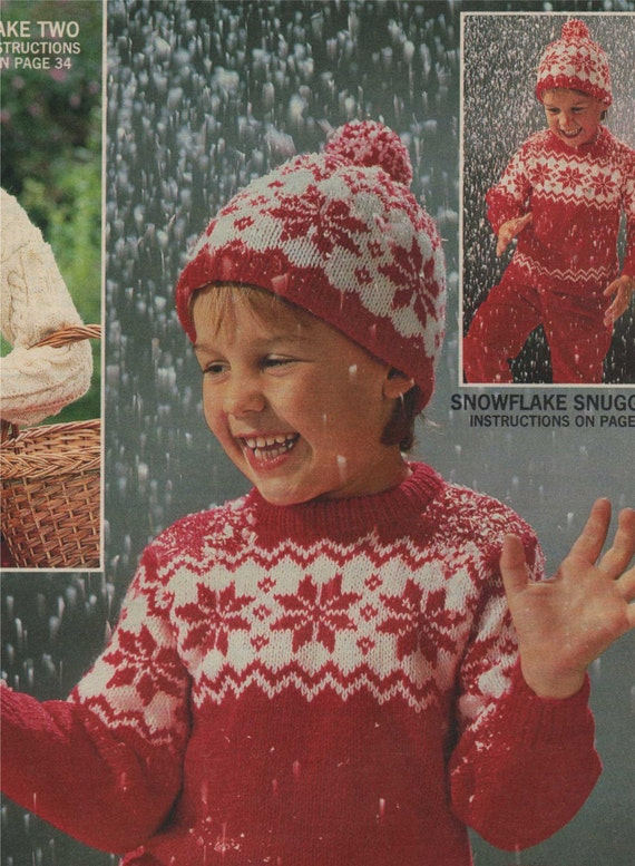 Childrens Snowflake Fair Isle Sweater And Hat Knitting Pattern Etsy