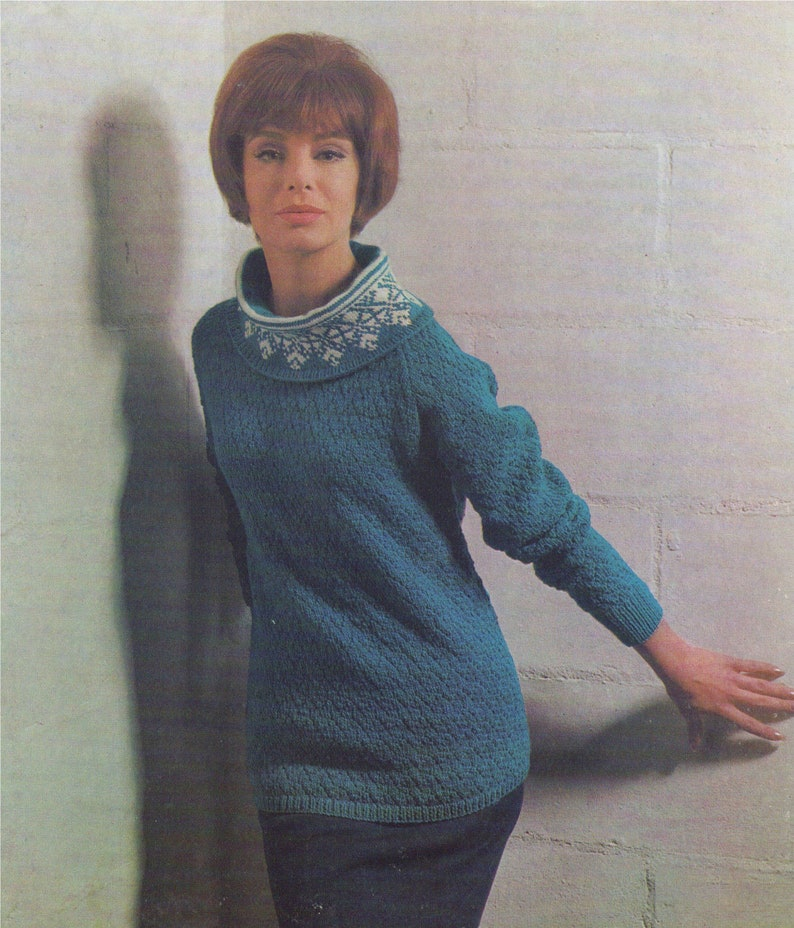 27702d0d267d Womens Fair Isle Sweater Knitting Pattern PDF Ladies 34 36