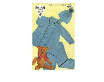Baby Boy Pram Suit - Coat, Leggings and Helmet Hat PDF Knitting Pattern : Babies 9 - 18 months . 21 - 22 inch chest . DK . Digital Download