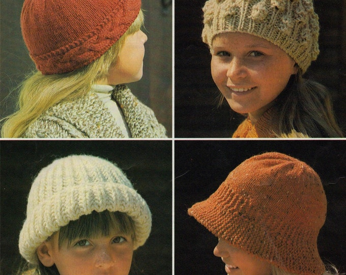 Hats Knitting Pattern PDF for Girls 8 - 9 and 10 - 11 years old, Beanie Hats, Childrens Vintage Hat Knitting Patterns, Download