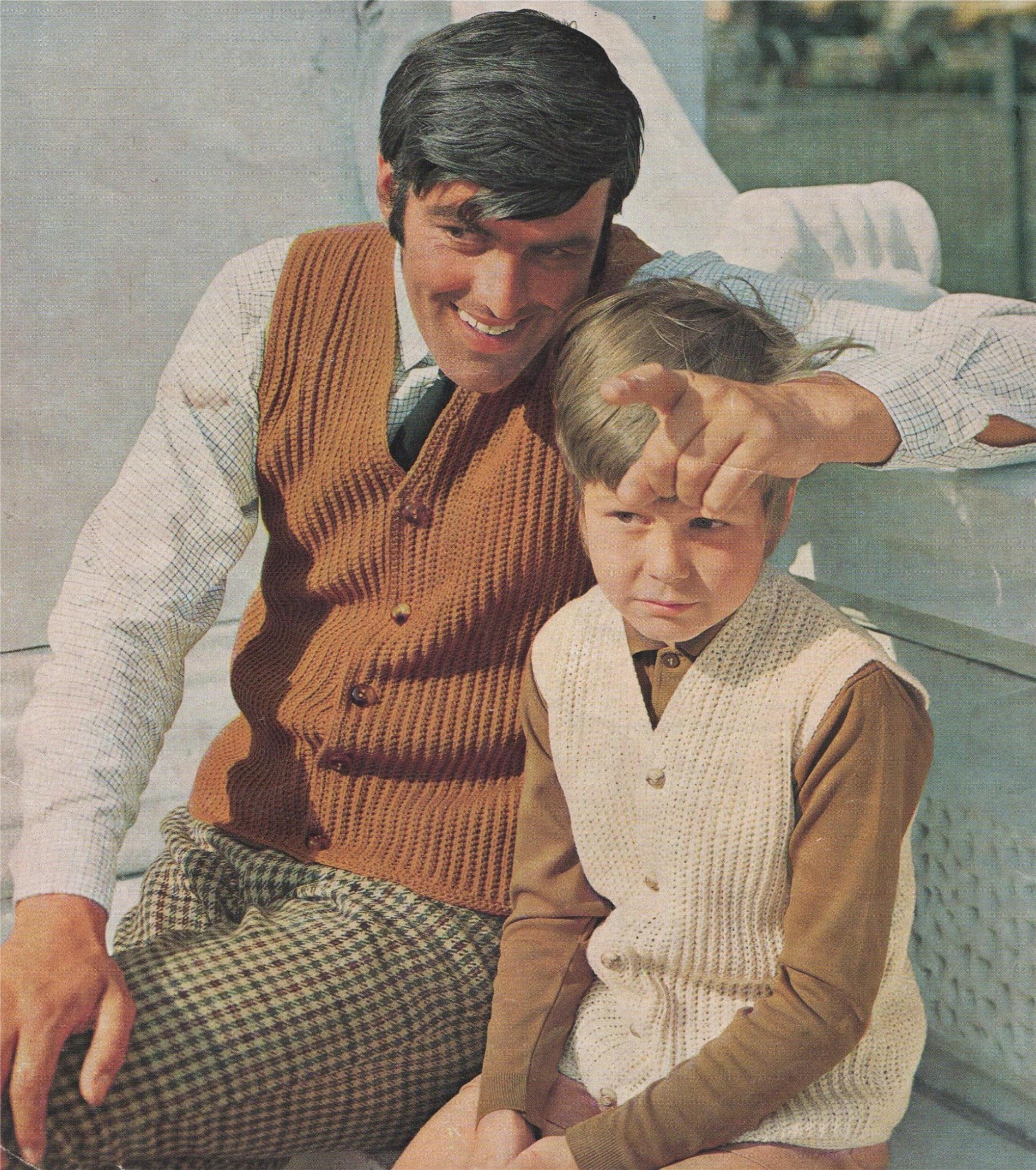 Gilet Waistcoat Crochet Pattern Pdf Mens And Boy 28 30 32 34 36