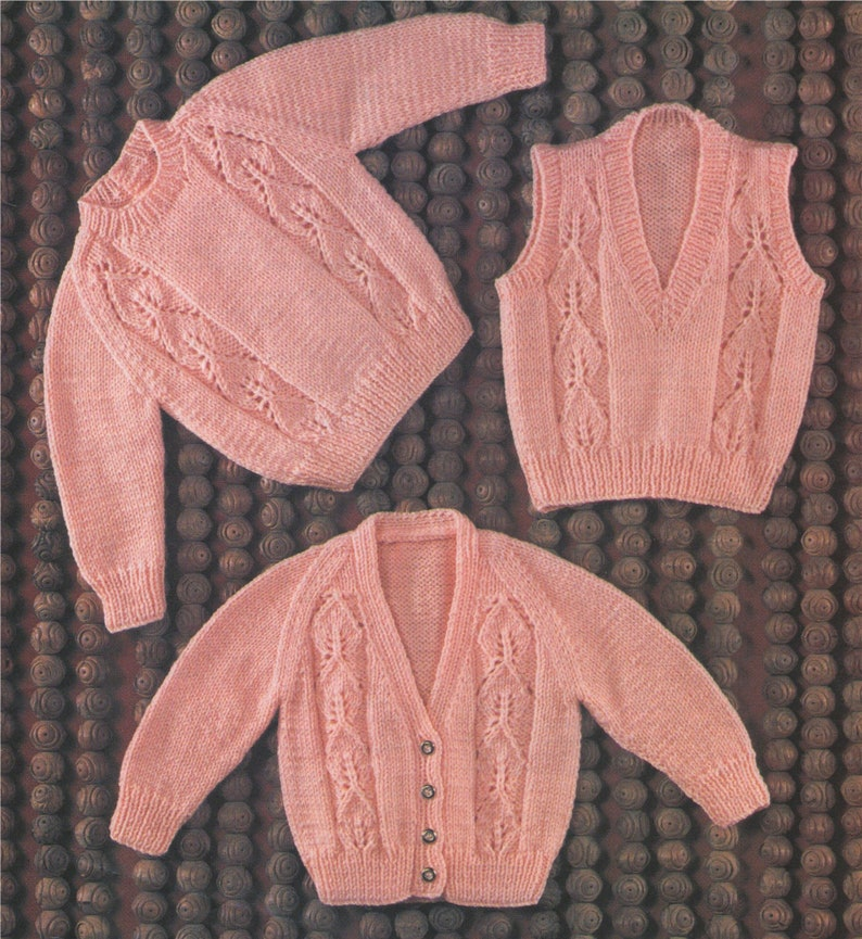 26f3283f8 Babies Sweater Cardigan   Pullover Knitting Pattern PDF Baby