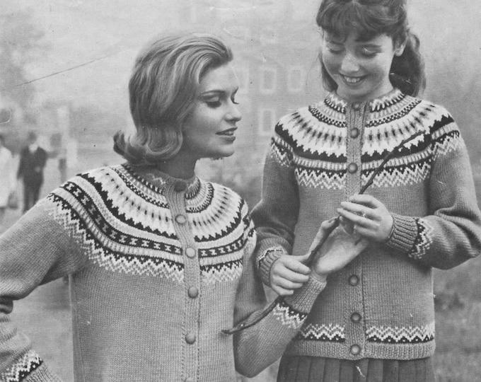 Womens Fair Isle Yoke Cardigan Knitting Pattern PDF Ladies 28, 30, 32, 34, 36 and 38 inch chest, Jacket, Vintage Knitting Patterns for Women