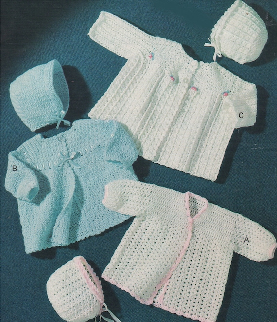569eadaaa49c Babies Coat and Bonnet Crochet Pattern PDF Newborn Baby Boys