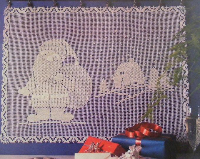 Santa Wall Picture Crochet Pattern PDF, X-mas Wall Hanging, Father Christmas, Decorative Christmas Decoration . e-patterns Download