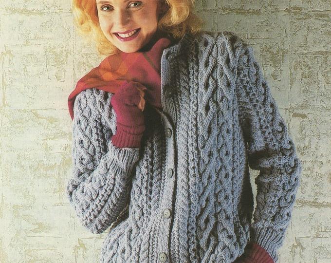 Womens Aran Cardigan Knitting Pattern PDF Ladies 32, 34, 36, 38, 40 and 42 inch chest, Vintage Aran Knitting Patterns for Women, Download