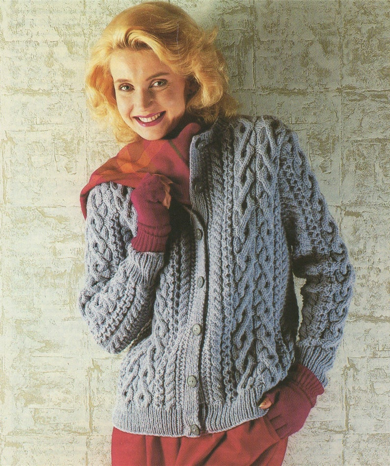 3fb2acc26a8641 Womens Aran Cardigan Knitting Pattern PDF Ladies 32 34 36