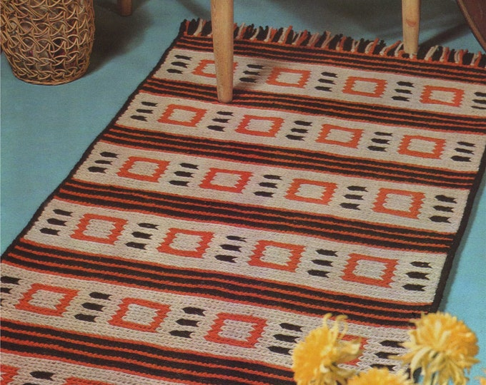 Rug Pattern PDF in Soumak Stitch, Stitched Floor Mat, Boho and Retro Home Style, Vintage Rug Patterns for the Home, epattern Download