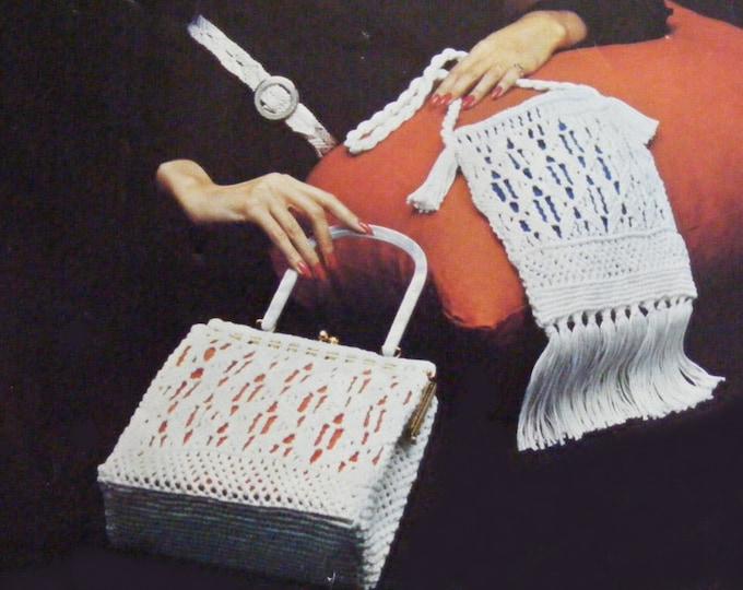 Macrame Handbag, Belts, Choker Neckalce and Shoulder Bag Macrame Pattern PDF, Knotting Fiber Craft, Vintage Macrame Patterns for Women