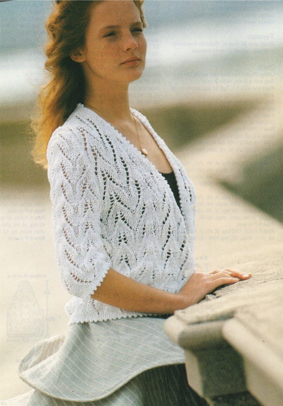 249c4782a Womens Lace Cardigan Knitting Pattern PDF Ladies 34 and 36