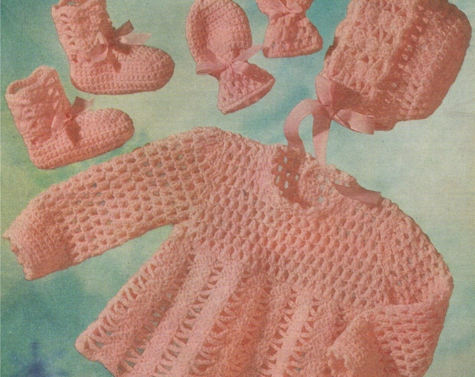 Crochet Patterrn Baby Girls Angel Top, Bonnet, Mitts and Bootees . PDF : Babies 19 inch chest . 4 Ply . Short Dress . e-pattern Download