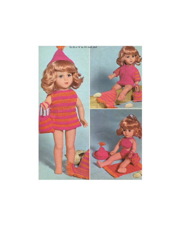 Dolls Clothes Knitting Pattern Pdf For 14 16 Inch Doll Etsy