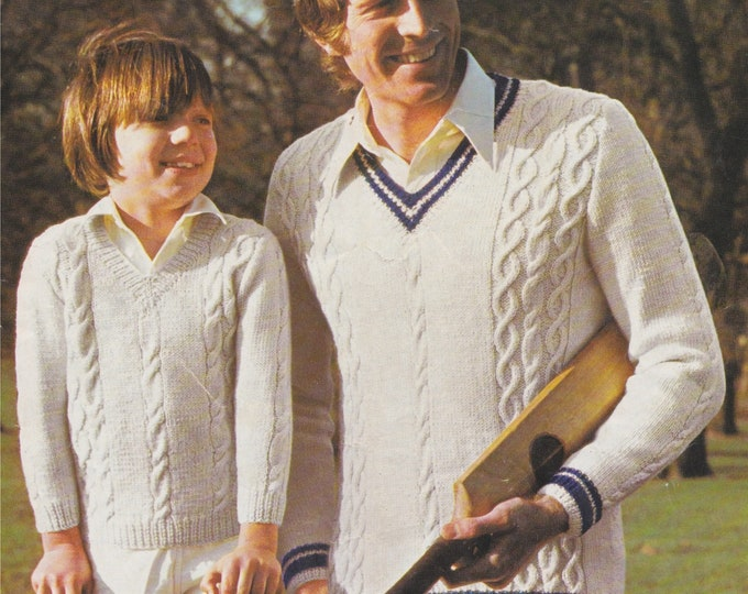 Cricket Jumper Knitting Pattern PDF Mens or Boys 24, 26, 28, 30, 32, 34, 36, 38, 40, 42, 44, 46 inch chest, Cricket Sweater, Family Patterns