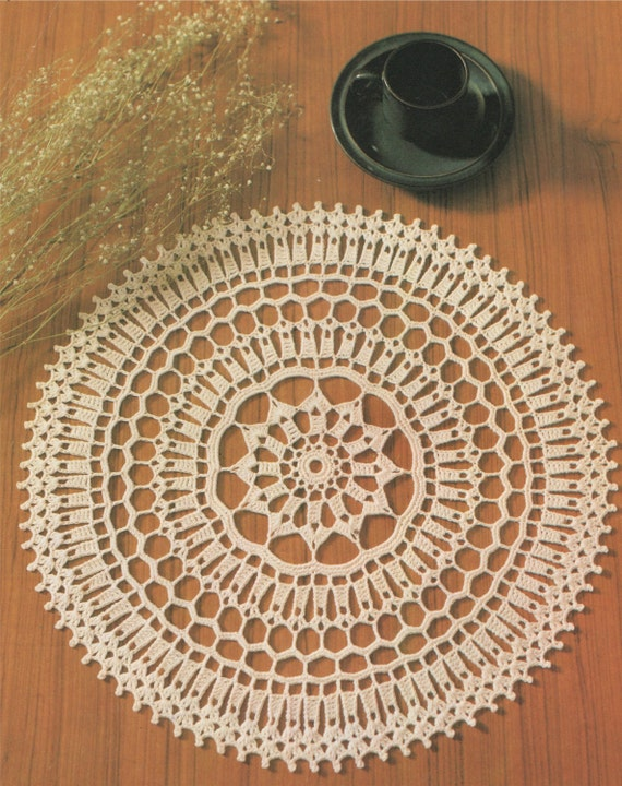 Pattern For Placemats For Round Table.Doily Crochet Pattern Pdf Round Table Mat Circular Placemat Table Centrepiece Mandala Vintage Crochet Patterns For The Home Download