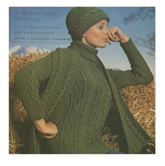 640887a2a Womens Aran Sweater, Hat and Scarf Knitting Pattern PDF Ladies 32, 34, 36,  38 inch bust, Cable Patterned Jumper, Knitting Patterns for Women