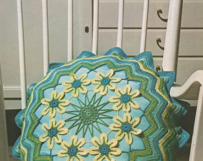Cushion Cover Crochet Pattern PDF Floral Patterns in 2 Designs Daisy and Daffodil, Flowers, Vintage Crochet Patterns for the Home, Download