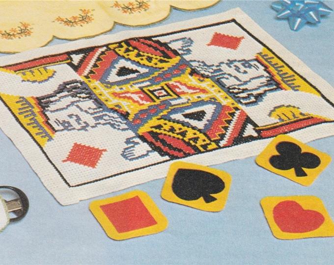 King of Diamonds Tray Cloth Cross Stitch Pattern PDF with Chart, Table Linen, Playing Card, Poker Night, Vintage Cross Stitch Patterns