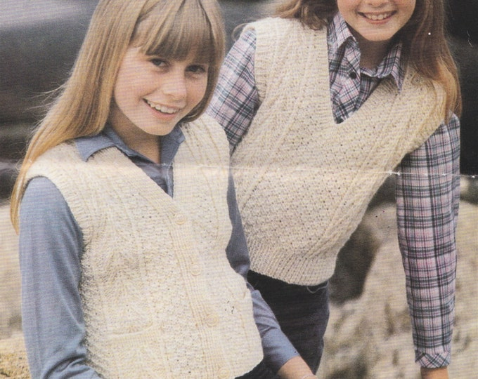 Aran Waistcoat Gilet and Slipover Knitting Pattern PDF Childrens 26, 28, 30 and 32 inch chest, 10 ply Yarn, Vintage Aran Knit Patterns