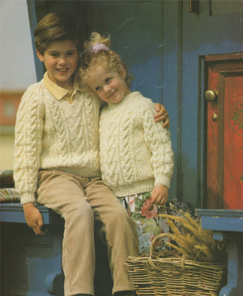 7be5945e799 Childrens Aran Sweater Knitting Pattern PDF Boys or Girls 20, 22, 24, 26,  28 and 30 inch chest, Round or V Neck Jumper, e-pattern Download
