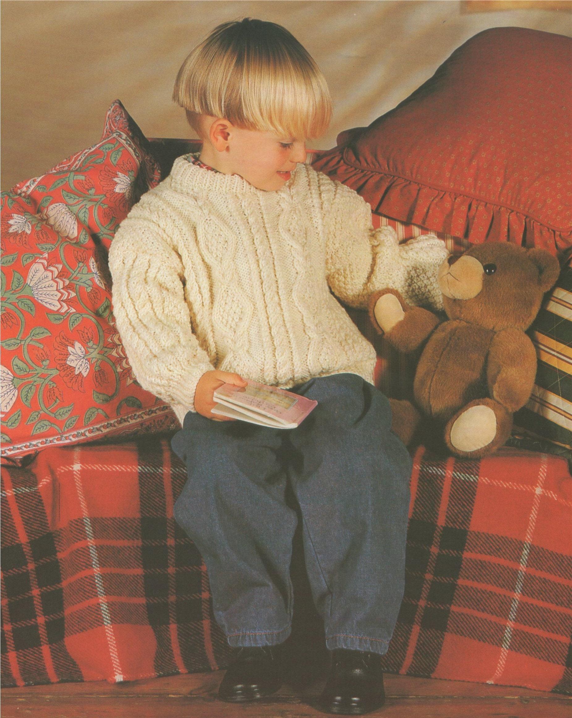 52c5d7a7628 Childrens Aran Sweater Knitting Pattern PDF Boys or Girls 20, 22, 24 ...