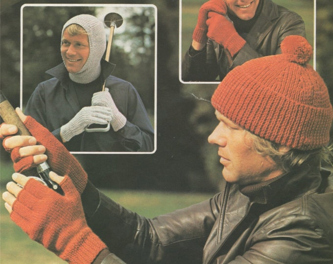 Mens Balaclava, Hat, Fingerless Gloves and Gloves Knitting Pattern PDF Mans Winter Accessories, Vintage Knitting Patterns for Men, Download