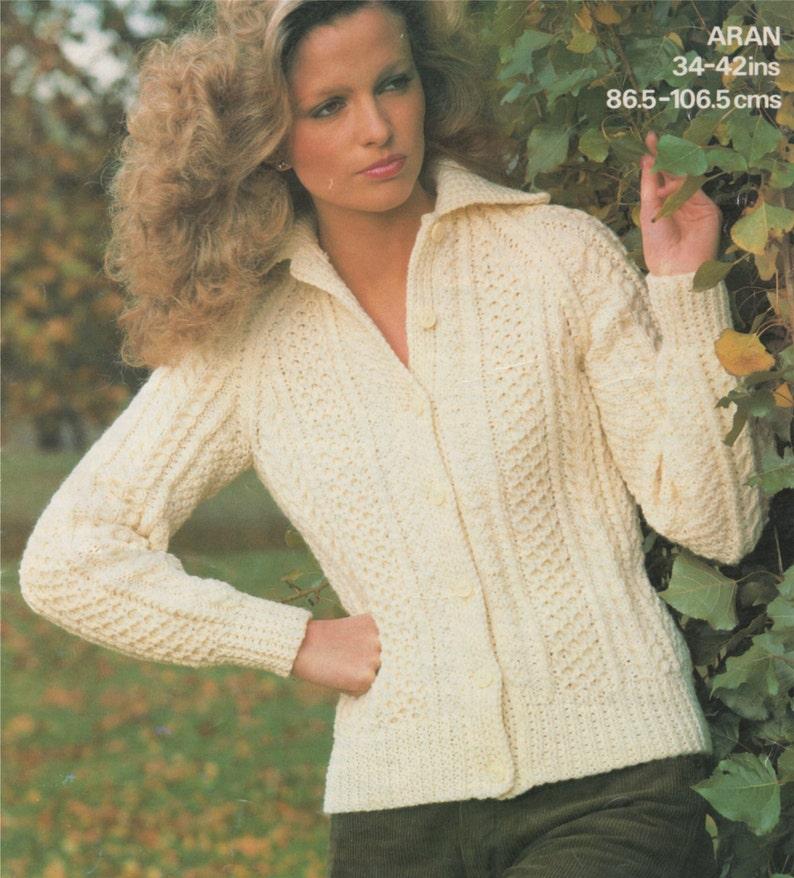321fb2d9bff7 Womens Aran Jacket Knitting Pattern PDF Ladies 34 36 38 40