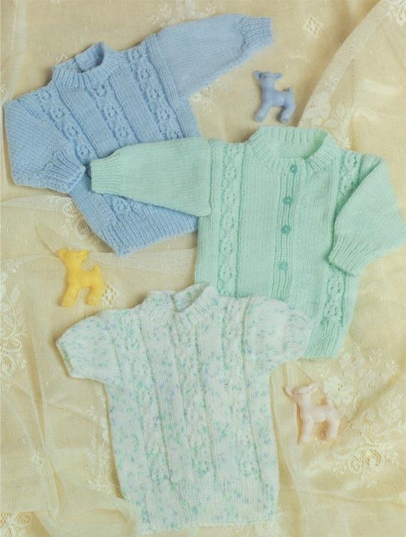 5122fcf7fa62 Premature Baby Sweater and Cardigan Knitting Pattern PDF
