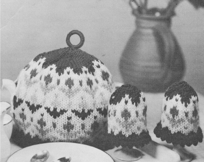 Fair Isle Tea Pot and Egg Cosies Knitting Pattern, Scrap Yarn Project making a Tea Cosy, DK 8 ply Yarn, Vintage Knit Patterns for the Home