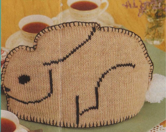 Rabbit Tea Cosy and Bedspread Knitting Pattern PDF Knitted Patchwork Throw, Teapot Cosy, Vintage Knitting Patterns for the Home, Download