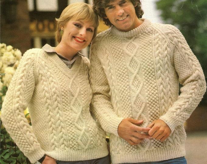 Aran Round Neck or V Neck Sweater Knitting Pattern PDF Womens or Mens 34, 36, 38, 40, 42 & 44 inch chest, Aran Jumper, Vintage Aran Patterns