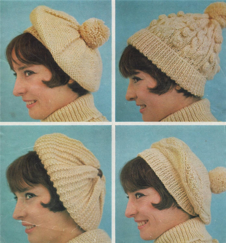 41bf57922d7 Womens Aran Hat and Beret Knitting Pattern PDF Ladies Aran Hats