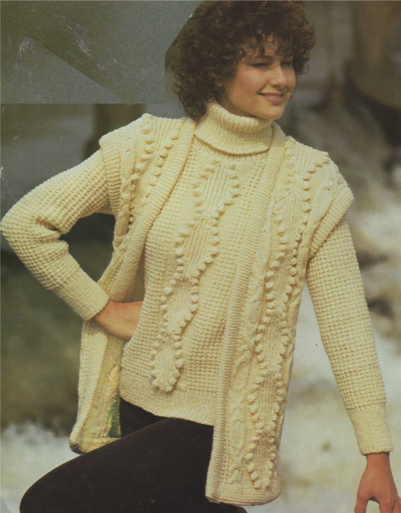 7d022e2e0d8b Womens Aran Sweater and Gilet Knitting Pattern PDF Ladies 32
