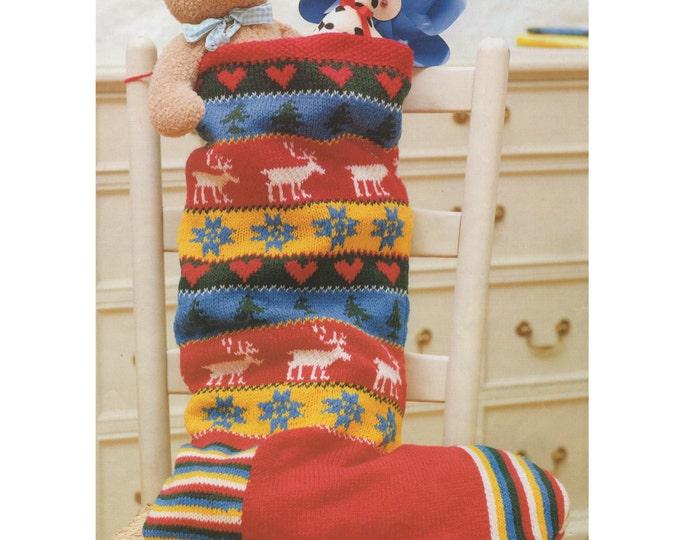 Christmas Stocking Knitting Pattern PDF, Fair Isle, Snowflakes, Hearts, Christmas Trees, Reindeer, X-mas Decoration, e-patterns Download