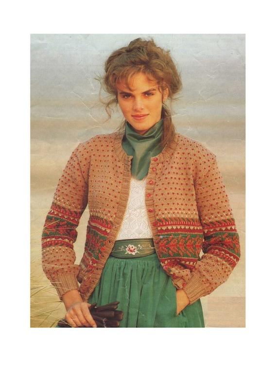 be539147a3eb Ladies Fair Isle Cardigan Knitting Pattern PDF Womens 32 34
