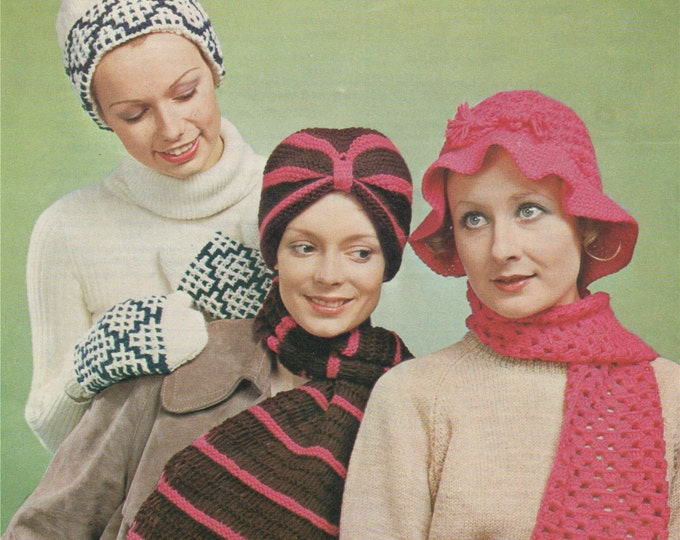 Womens Turban, Hat, Scarf and Mittens Knitting & Crochet Pattern PDF Ladies Winter Accessories, Vintage Knitting Patterns for Women