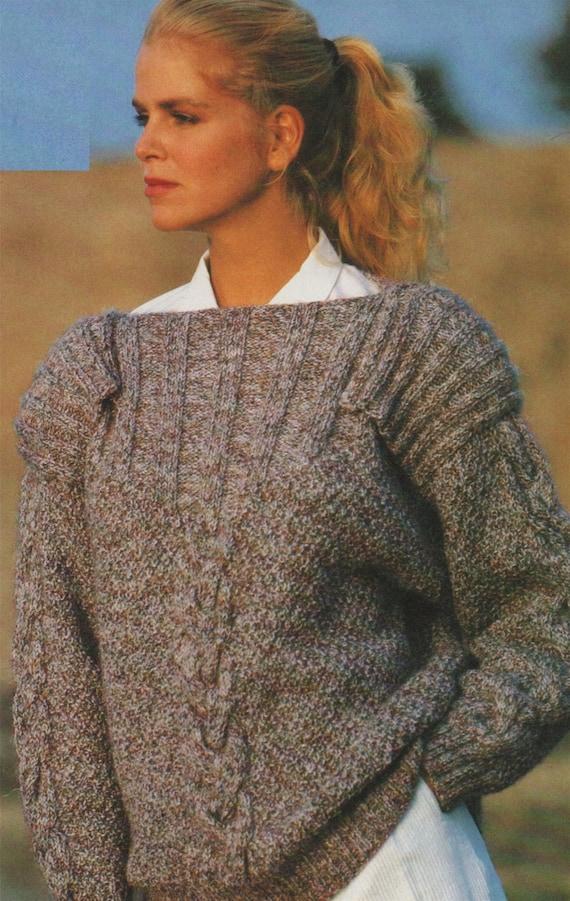 Womens Boat Neck Sweater With Epaulettes Knitting Pattern Pdf