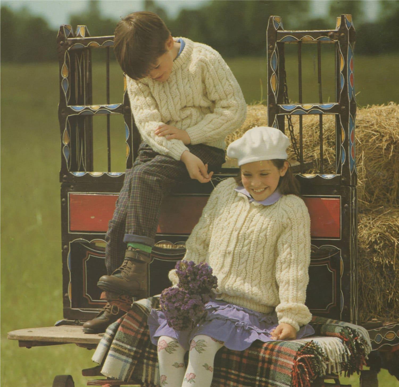 5ac955f3569 Childrens Aran Sweater and Cardigan Knitting Pattern PDF Boys or ...
